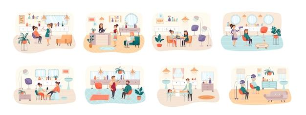 Conjunto de cenas de salão de beleza com situação de personagens planos