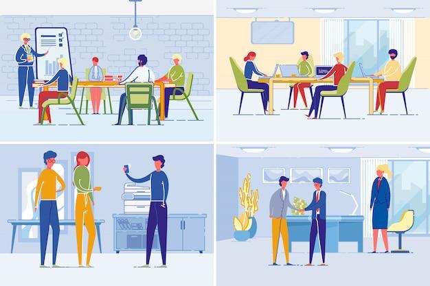 Conjunto de cenas de trabalho de pessoas de negócios