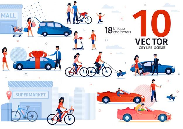 Conjunto de cenas de transporte ecológico de carro