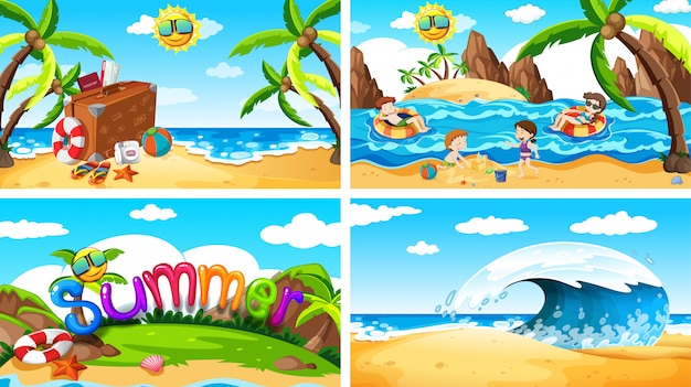 Conjunto de cenas de verão na praia