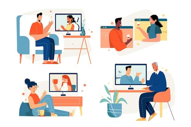 Conjunto de cenas de videoconferência de amigos