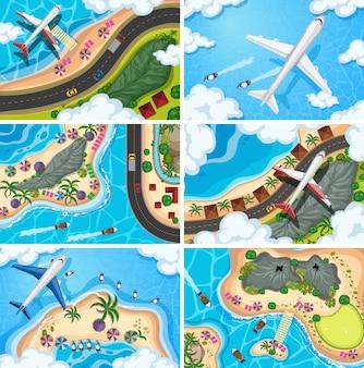 Conjunto de cenas de vista aérea