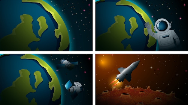 Conjunto de cenas diferentes do espaço