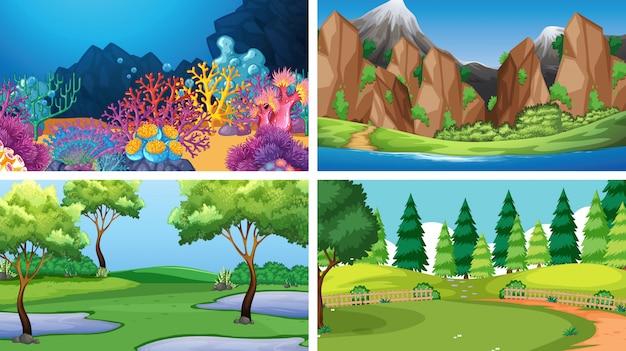 Conjunto de cenas diferentes ou plano de fundo