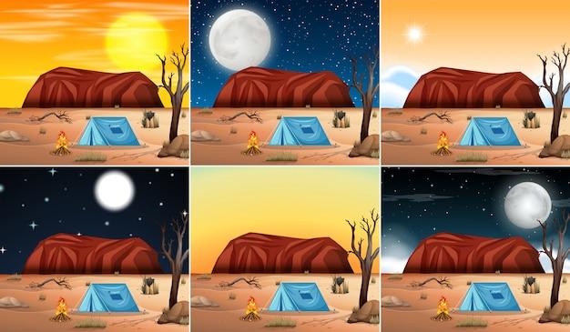 Conjunto de cenas do deserto
