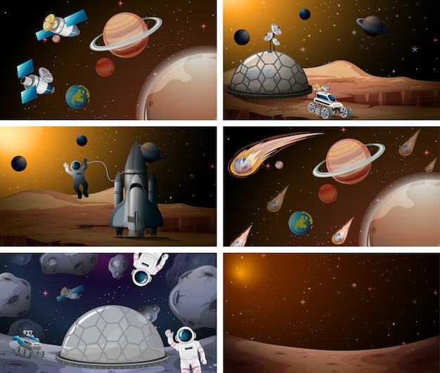 Conjunto de cenas do espaço de marte