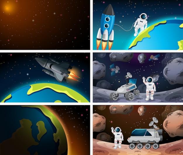 Conjunto de cenas do espaço