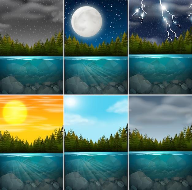 Conjunto de cenas do lago diferente