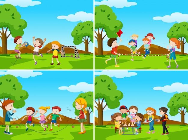 Conjunto de cenas do parque ao ar livre