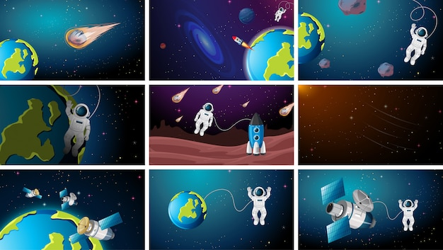 Conjunto de cenas espaciais diferentes