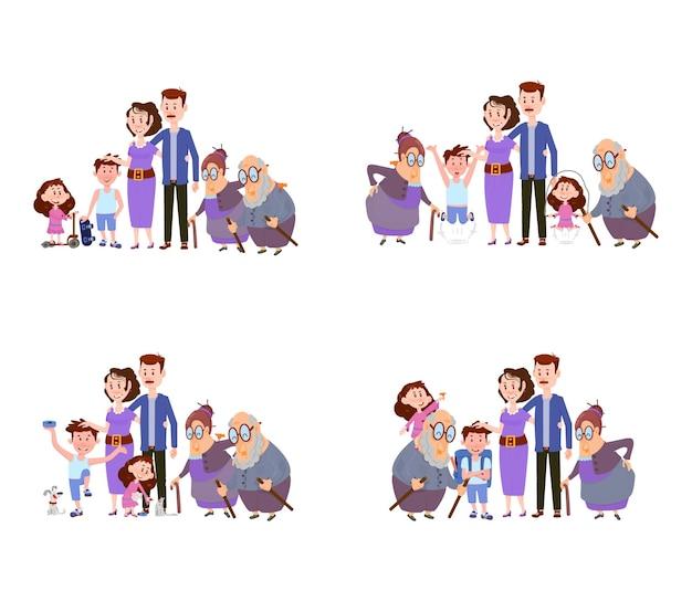 Conjunto de cenas, família feliz, mãe, pai, filhos e avós personagens planos