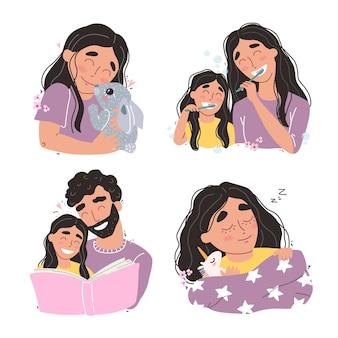 Conjunto de cenas familiares de amor e felicidade