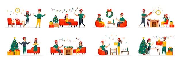 Conjunto de cenas familiares de natal