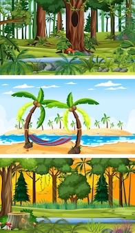 Conjunto de cenas horizontais de diferentes naturezas