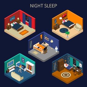 Conjunto de cenas isométricas de sono à noite