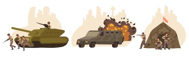 Conjunto de cenas militares
