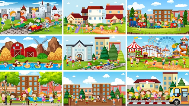 Conjunto de cenas na natureza e ambiente urbano