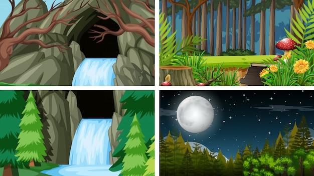 Conjunto de cenas na natureza