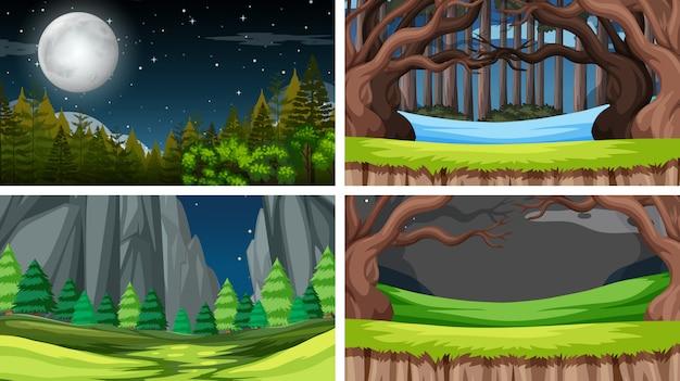 Conjunto de cenas no cenário da natureza