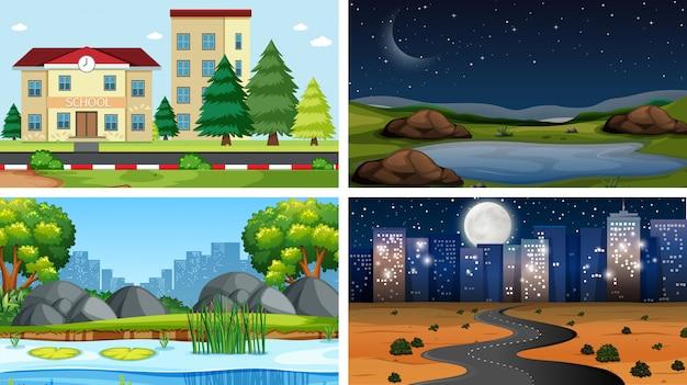 Conjunto de cenas no cenário de natureza ou plano de fundo