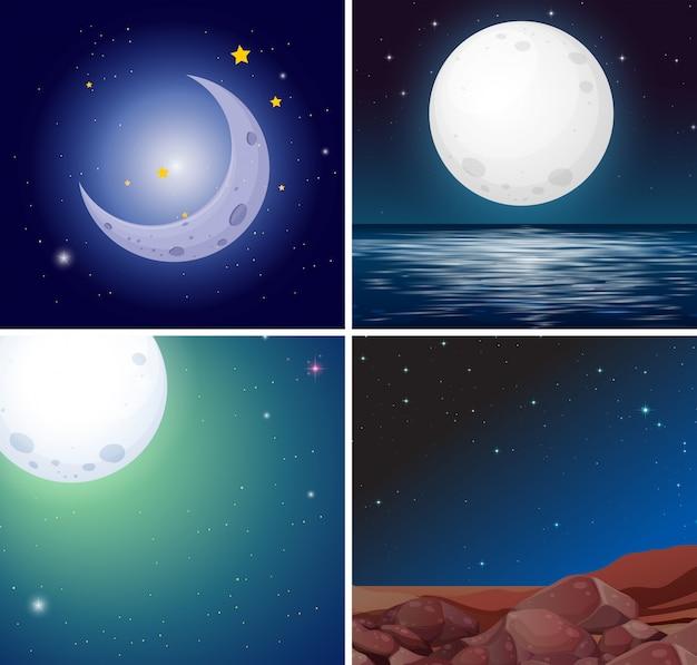 Conjunto de cenas noturnas da lua