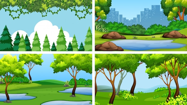 Conjunto de cenas ou plano de fundo na natureza