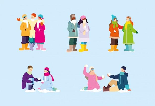 Conjunto de cenas, pessoas com roupas de inverno
