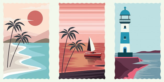 Conjunto de cenas planas de paisagem do mar