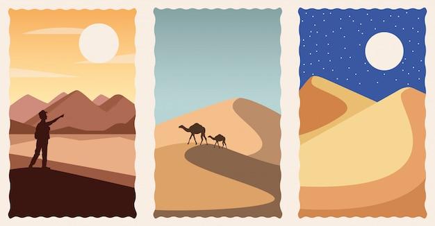 Conjunto de cenas planas de paisagens do deserto