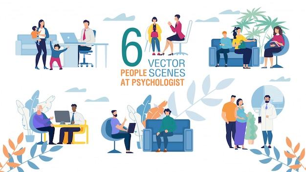 Conjunto de cenas planas de trabalho psicólogo familiar
