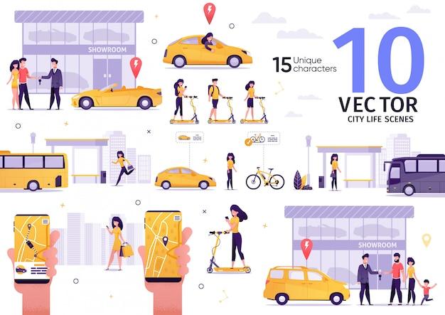 Conjunto de cenas planas de transporte de passageiros da cidade