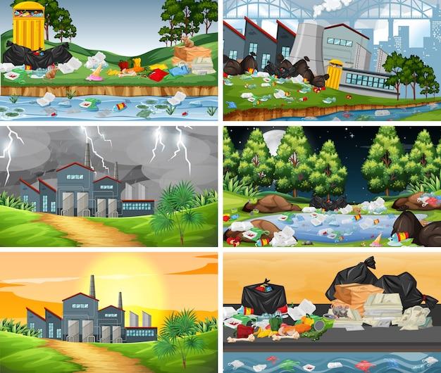 Conjunto de cenas poluídas