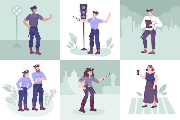 Conjunto de cenas quadradas da polícia de trânsito