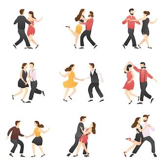 Conjunto de cenas românticas adorável casal dançando.
