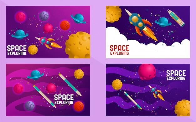 Conjunto de cenas. universo. viagem espacial. desenhar. ilustração vetorial
