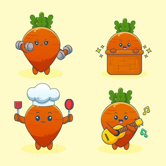 Conjunto de cenoura fofa de desenho animado