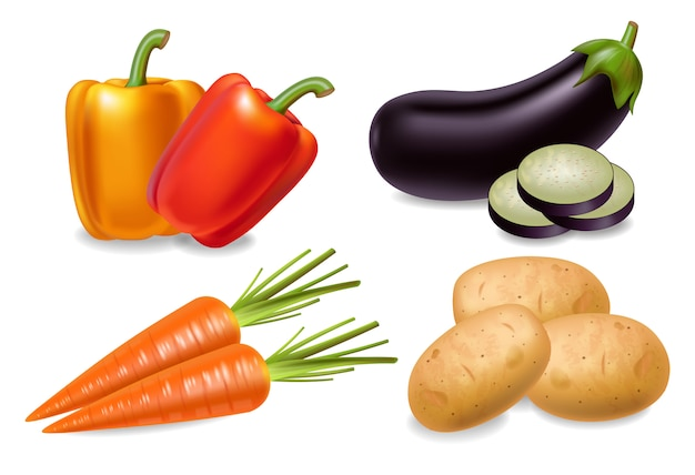 Conjunto de cenoura, pimenta e beringela