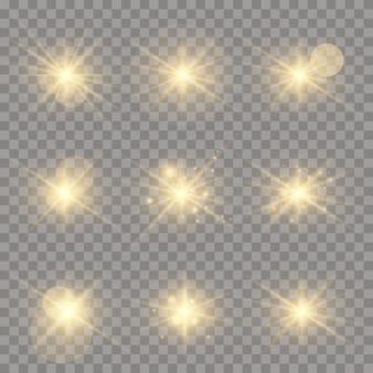 Conjunto de centelhas de ouro isoladas