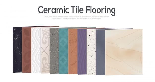 Conjunto de cerâmica realista com pedaços de azulejo retangular com diferentes padrões de cores e texto editável