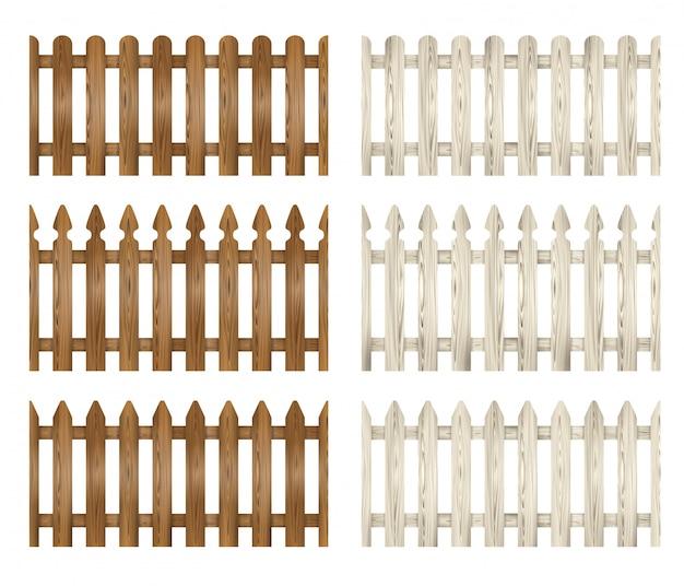 Conjunto de cerca de madeira. ilustração de cercas brancas e marrons