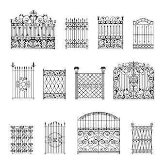 Conjunto de cercas decorativas