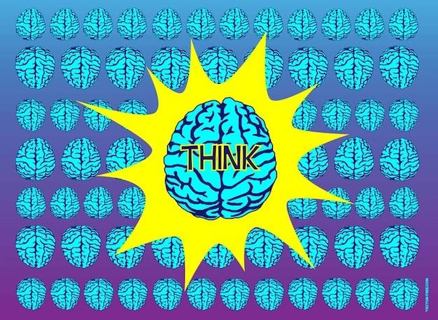 Conjunto de cérebros azul vetoriais