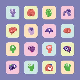 Conjunto de cérebros com alzheimer