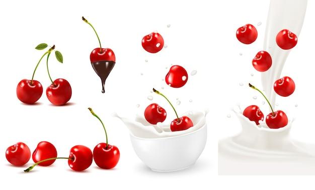 Conjunto de cerejas maduras com folhas e respingos de leite. vetor.