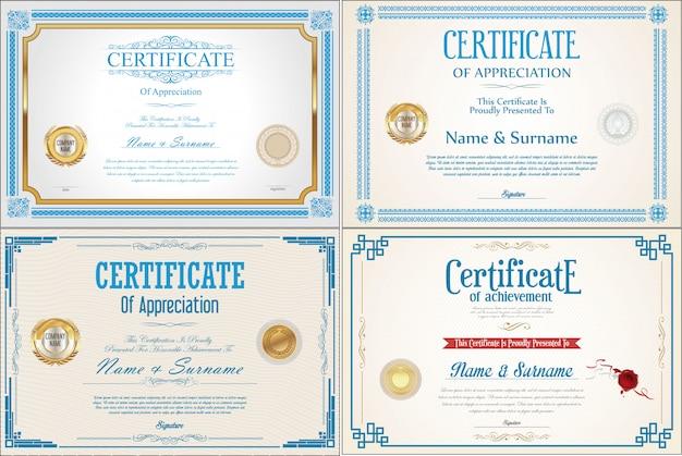Conjunto de certificado de conquista com selos