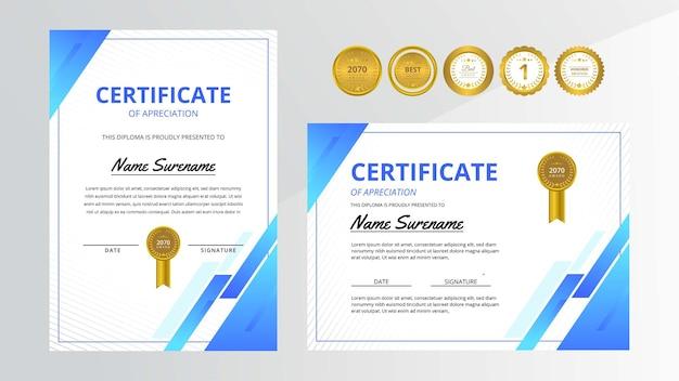 Conjunto de certificado de luxo gradiente azul com emblema dourado para negócios e educação de prêmios