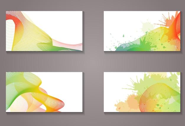 Conjunto de certificados, cartões com metamorfose de linhas do arco-íris e com lugar para texto