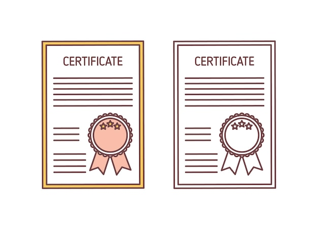 Conjunto de certificados com selo e fita isolado no branco