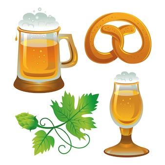 Conjunto de cerveja. coleções para oktoberfest. cerveja, lúpulo e pretzel