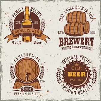 Conjunto de cerveja com logotipos vintage coloridos